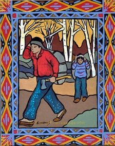 Father and son hauling heavy loads, Nokomis Native American Artists, Native American Beadwork, American Indians, Spiritual Beliefs, Native Art, Western Art, Father And Son, Real People, Storytelling