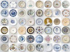 Panneau décoratif Assiettes Rijksmuseum / 2 m² Multicolore / Assiettes - ixxi