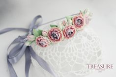 Feminine and delicate handmade floral headband with peonies.  Headbands floral composition includes five peonies with colorful petals. Central petals