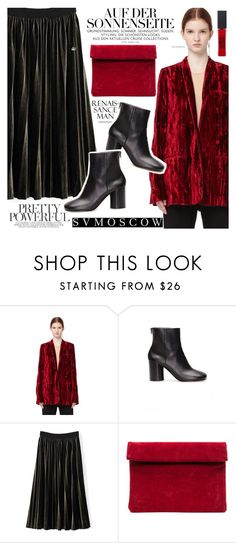 """""""Velvet and pleated"""" by vanjazivadinovic ❤ liked on Polyvore featuring Haider Ackermann, Maison Margiela, Maybelline, polyvoreeditorial and svmoscow"""