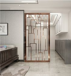 Raumteiler metal interior design, Bringing Outdoor Space In For Three-Seaso Living Room Partition Design, Pooja Room Door Design, Room Partition Designs, Hallway Designs, Partition Screen, Home Interior Design, Home Design, Wall Design, Design Design