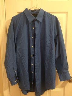 GIORGIO BRUTINI long sleeve shirt XL Solid Blue Classic Fit Pointed collar #GiorgioBrutini