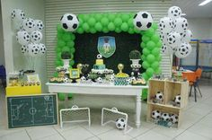 Love this dessert table at a soccer birthday party! See more party planning… Soccer Birthday Parties, Football Birthday, Sports Birthday, Soccer Party, Sports Party, Birthday Party Themes, Party Planning, Dessert Table, Party Ideas
