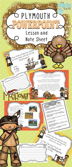 Plymouth Colony PowerPoint Lesson and Note Sheet. 28 Slides about Plymouth Colony, a note taking sheet and writing prompts.