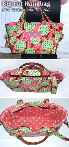 Big Fat Gorgeous Handbag Free Tutorial – Purses And Handbags Diy Handbag Patterns, Bag Patterns To Sew, Tote Pattern, Diy Purse Patterns Free, Diy Bags Purses, Purses And Handbags, Fashion Handbags, Cheap Handbags, Cheap Purses