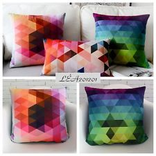 18x18'' Blue Pink Suede Cushion Cover - Modern Nordic Style Geometric Colorful