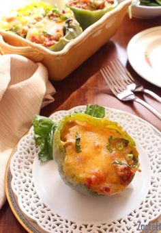 Easy to make Stuffed Peppers For One - green peppers filled with lean ground turkey, onions, garlic, tomatoes, spinach and cheese. Healthy and delicious! | ZagLeft