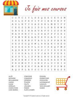 With this printable French supermarket word search puzzle, teach your students or yourself the words you would use when shopping for grocercies in France.