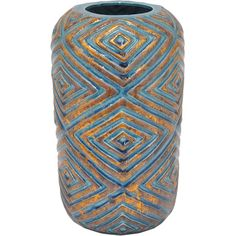 Add a pop of pattern to your console table or bay window with this lovely vase, showcasing a concentric diamond pattern in blue and gold.   ...