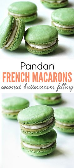 The perfect match of flavours and texture! A classic French macaron with Southeast Asian flavours, Pandan macarons with coconut buttercream filling. A yummy Asian fusion recipe!