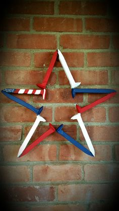 Railroad Spike Star, Red White and Blue