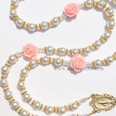 Peach Rose Pearl Rosary - Can be personalized!