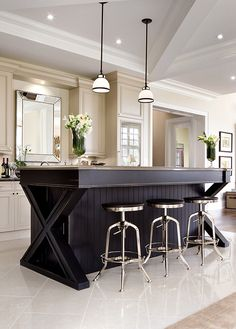 A home bar is one of the most fun places in the house, and it's a great area to add a pop of color—whether in the cabinetry, stools, walls or art. Check out 33 custom home bar design ideas. All styles, sizes and materials. Beautiful Kitchens, Cool Kitchens, Kitchen Interior, Kitchen Decor, Kitchen Ideas, Kitchen Rustic, Decorating Kitchen, Kitchen Stools, Decorating Games