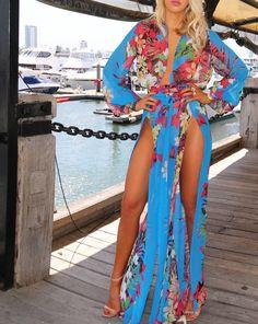$59.99 Sexy V-neck Long Sleeve Split Printing Dress