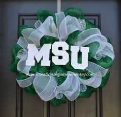 Michigan State University Wreath - MSU Wreath - Green and White on Etsy, $80.00