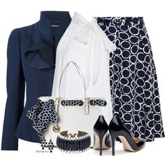 Classic Navy n' White by stylesbyjoey on Polyvore featuring Alice + Olivia, Alexander McQueen, Rupert Sanderson, MICHAEL Michael Kors, Accessorize and Vince Camuto
