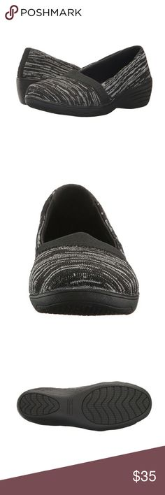 """Women's 8.5 Skechers Kiss Cheeky Career Shoes 1.5"""" heel. Soft, cushioned, odor blocking insoles. Lightweight, durable materials. Black and gray knit fabric. True to size. Comes with original box.   I wore them once to work & I just can't wear shoes with a heel while standing for 8 hours. I took them off after about 2 hours into my shift and they have sat in the box since. So they still look brand new. No real visible signs of use. Clean & sanitized! Skechers Shoes Wedges"""