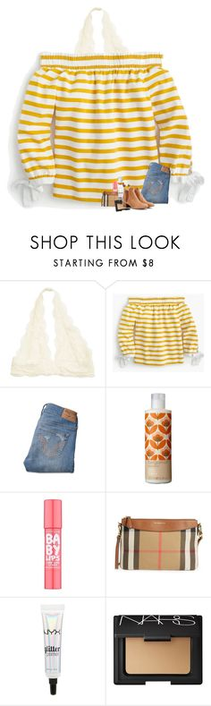 """""""colors of the rainbow: yellow (pt. 1)"""" by madelinelurene ❤ liked on Polyvore featuring J.Crew, Hollister Co., Orla Kiely, Maybelline, Burberry, NYX and Chloé"""