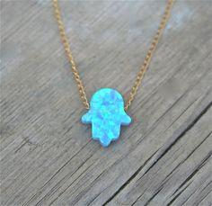 HAMSA,  Blue Opal Necklace