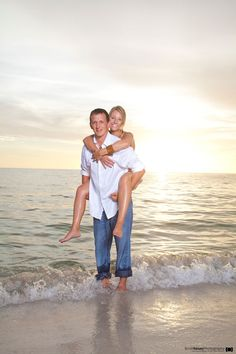 Piggy back ride at sunset. #Engagement Photos Session.