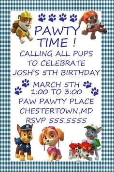 Paw Patrol Party Invites Download, JPEG 300dpi, I add your info and you print, 4x6