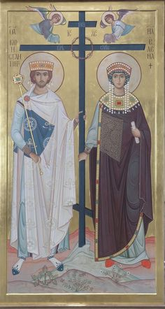The two Saints here are very much inspired by the figures of Emperor Justinian and his wife Empress Theodora, as depicted in Byzantine mosaics and churches. Byzantine Art, Byzantine Icons, Byzantine Mosaics, Religious Icons, Religious Art, St Constantine, Empire Romain, Russian Icons, Best Icons