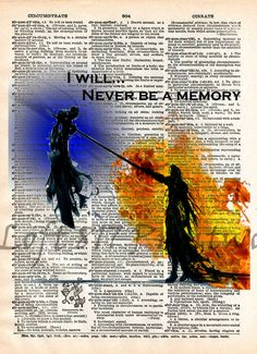 Final Fantasy VII Sephiroth and Cloud, Advent Children, Final Fantasy VII, Videogame art print
