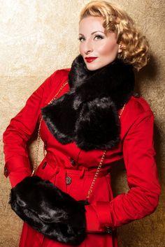 Foxy - 40s Vintage Black Faux Fur Scarf