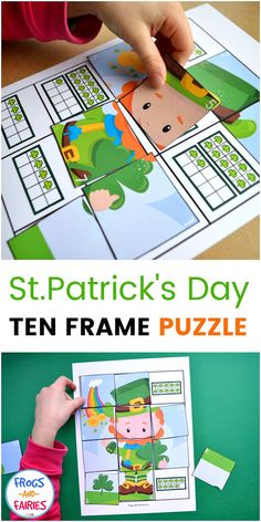 This fun St.Patrick's Day Ten Frame Counting Puzzle is a fun activity for practicing counting and subitizing to Kids will count the shamrocks, find the puzzle piece with matching number and place it on the correct spot! Subitizing Activities, Counting Activities, Spring Activities, Preschool Math, Holiday Activities, Activities For Kids, Kindergarten, St Patricks Day Crafts For Kids, St Patrick's Day Crafts