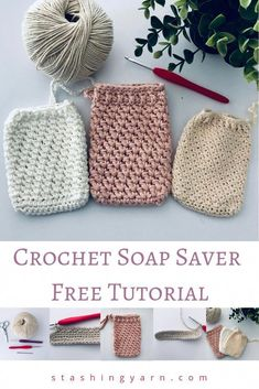 Easy Crochet Soap Saver Tutorial - Great for Beginner Crocheters - Handmade CrochetMake your own gorgeous, textured crochet soap saver. Free pattern and easy full photo tutorial to start you on your own handmade crochet spa set Crochet Simple, Crochet Diy, Crochet Geek, Crochet Gifts, Beginner Crochet, Tutorial Crochet, Knitting Projects, Crochet Projects, Knitting Patterns