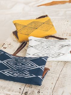 Perfect to hold just the essentials...linen and vegan leather clutch, block printed with eco-friendly ink and lined with white cotton. Brass rivets and zippers. Block printed by hand with eco friendly