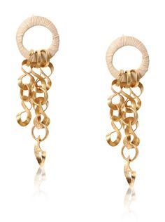 Saachi Straw-Wrapped Hoop Earrings.