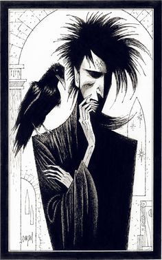 Matthew and Dream, characters from The Sandman [Vertigo/DC Comics]. Media: India ink and charcoal on bristol board. The Sandman is a trademark of DC Comics; all rights reserved.