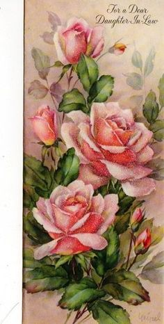 vintage birthday card Pink Roses