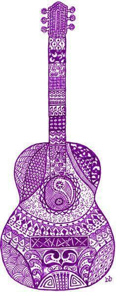 Guitarra diseño de mandala