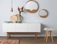 Brass Pendant - Wood Bowls - Interior Design - Decor Styling - Home Accents Oak Veneer Plywood, Home And Living, Living Room, Nordic Living, Style Loft, Round Wall Mirror, Mirror Mirror, Home Accents, Home Furniture