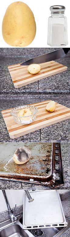 Eliminar el óxido usando patata y sales