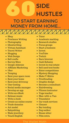A complete list of side hustle ideas to start making money from home or online today. Diversify your income with any of these money making projects.Over 60 Side Hustle Ideas to Start Making Money from Home Ways To Earn Money, Earn Money From Home, Earn Money Online, Money Tips, Money Saving Tips, Way To Make Money, Online Income, Money Hacks, Making Money From Home