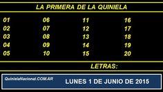 Quiniela Nacional La Primera Lunes 1 de Junio de 2015. Fuente: http://quinielanacional.com.ar Pizarra del sorteo desarrollado en el recinto de la Loteria Nacional a las 11:30 horas. La jugada se efectuó con total normalidad.
