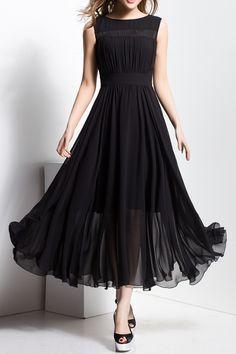 Borme Black Lace Spliced Slash Neck Maxi Dress | Maxi Dresses at DEZZAL
