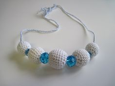 Crochet Covered Bead Necklace - White and Blue, via Etsy