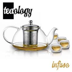 """Features:  -Stainless steel infusion chamber.  -Borosilicate glass.  -High heat resistance.  -Set includes teapot and 4 glasses.  -Perfect gift for tea lovers. Dimensions:  -Teapot: 4.75"""" H x 8"""" W x 5"""