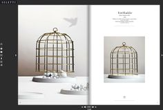 Seletti gold metal birdcage with porcelain base