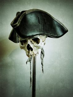 Black Leather Pirate Tricorn Hat with Old Gold Trim