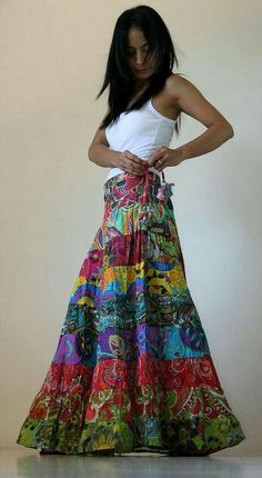 Long Patchwork Maxi skirt : Boho Patchwork Collection by Nuichan Jupe longue patchwork longue: Collection Boho Patchwork de Nuichan Maxi Skirt Boho, Bohemian Skirt, Gypsy Skirt, Boho Skirts, Boho Dress, Maxi Skirts, Hippie Skirts, Wrap Skirts, Mode Outfits