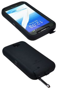 ZeroLemon Samsung Galaxy Note 2 ZeroShock Rugged Midnight Black / Viper Black Case + Holster/KickStand for 9300mAh Extended Battery Case ***Battery NOT Included*** Compatible with Samsung Galaxy Note II GT-N7100, T-Mobile Galaxy Note II SGH-T889, Sprint Galaxy Note 2 SPH-L900, At&t Samsung Galaxy Note II SGH-i317, and Verizon SCH-i605) Note 2-R-Black/Black