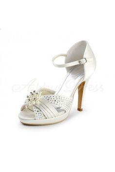 Satin Stiletto Heel Sandals, Platform, Peep Toe, Pumps Women's Shoes Ivory Wedding Shoes- Abbydress.com