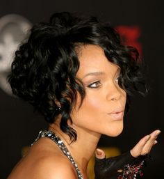 Wavy Styles for Black Women | Rihanna Black Curly Bob Hairstyle | Hairstyles Weekly