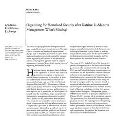 """This article looks at the planning process during Hurricane Katrina to determine what went wrong. """"In responding to disasters, FEMA and state emergency managers are embedded in a network of thousands of nonprofit organizations,  private firms, ad hoc groups, individual firms, and public safety agencies that are all responding to the disaster.  #500_11 #Wk11collaboration #rehlert #collaborativeplanning   http://www.jstor.org.libproxy.usc.edu/stable/3843912"""