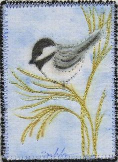 Quilted ACEO Original- Chickadee on the Grass, Pencil on Cotton, #5-8 | AndrusGardensQuilts - ACEO on ArtFire